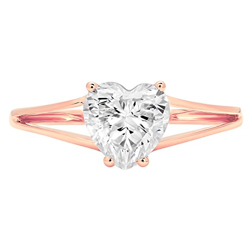 1.6ct Brilliant Heart Cut Designer Simulated Diamond Solitaire Statement Ring for Women Solid 14k Rose Gold, 7 by Clara Pucci
