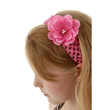 Hot Pink Crochet Headbands For Girls With Medium Hot Pink Silk
