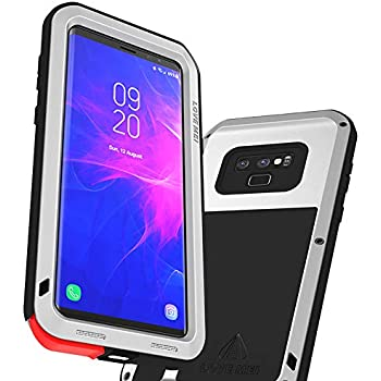 LOVE MEI Case for Samsung Galaxy Note 9, Shockproof Metal Cover Supports Wireless Charging Full Body Protective Rugged Case Exclude Screen Protector (Silver)