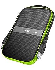 Silicon Power 2 TB extern bärbar hårddisk robust rustning A60 stötsäker vattentålig 2,5-tums USB 3.0, militärklass MIL-STD-810G och IPX4, för PC/Mac/Xbox One/Xbox 360/PS4/PS4 Pro/PS4 Svart