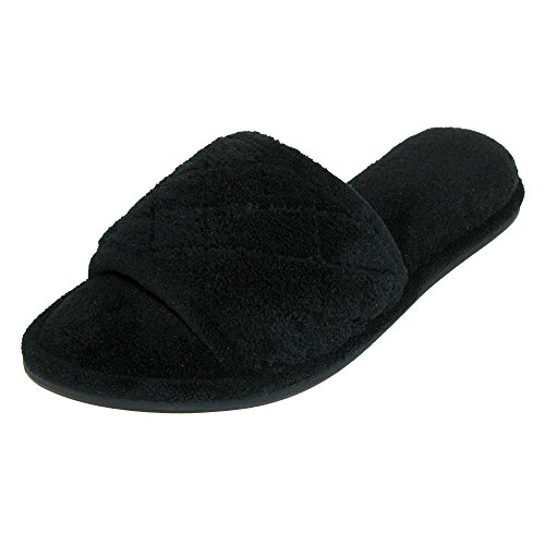 Dearfoams Women's Microfiber Open Toe Terry Slide Slippers Black PYQekAYeZO