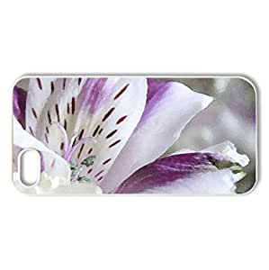 Purple Flower - Case Cover for iPhone 5 and 5S (Flowers Series, Watercolor style, White)