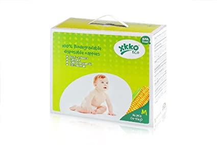 XKKO 23021106 - Pack de 36 pañales desechables ecológicos y 100% biodegradables, 4-