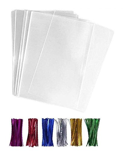 TUPWEL 100PCS 6x8 inch / 15cmx20cm Flat Disposable Plastic Cello Cellophane Treat Bags With 100PCS Twist Ties For Gift Packing Candies Bakery Cookies Party Favors