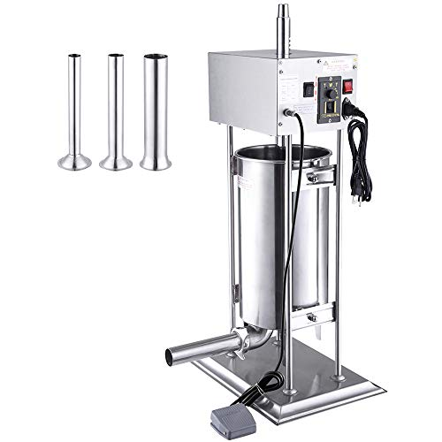 WeChef Commercial Electric Sausage Stuffer Machine 15L Vertical Stainless Steel Meat Filler 4 Stuffing Tubes Restaurant