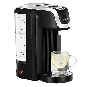 VonShef 220 240 Volts Instant Black Hot Water Dispenser Kettle 2.5 Liter Capacity, Maximum 2600W   Bundled With Dynastar Plug Adapters   220v 240v (NOT FOR USA)