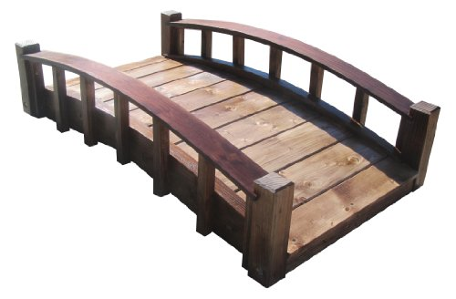 SamsGazebos Moon Bridges Japanese Style Arched Wood Garden Bridges, 4-Feet, Treated ()