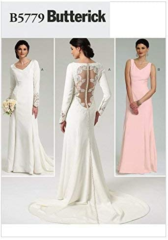Amazon Com Butterick Ladies Sewing Pattern 5779 Backless Wedding Dresses Home Kitchen