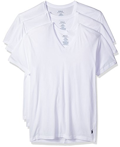 Polo Ralph Lauren Classic V-Neck T-Shirts 3-Pack, L, White