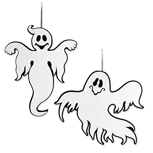 DII Indoor and Outdoor Reversible Foam Halloween Hanging Door Decorations and Wall Signs,  For Home, School, Office, Party Decorations, Set of 2 - Ghost]()