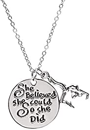 Infinity Collection Gymnastics Charm Necklace, Gymnastics Jewelry - Gymnast She Believed She Could So She Did