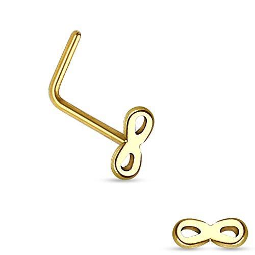 """Piercing nez infinity top en acier chirurgical 316LTaille: 20GA (0.8mm)1/4""""(6mm) Couleur: Doré"""