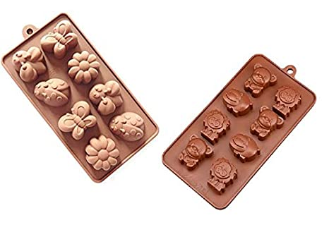 Joinor 2pc Ice Tray Molds Candy Molds Chocolate Molds Soap Molds Candy Making Kit Happy Bear Lion Hippo Bee Butterfly Ladybug Flower