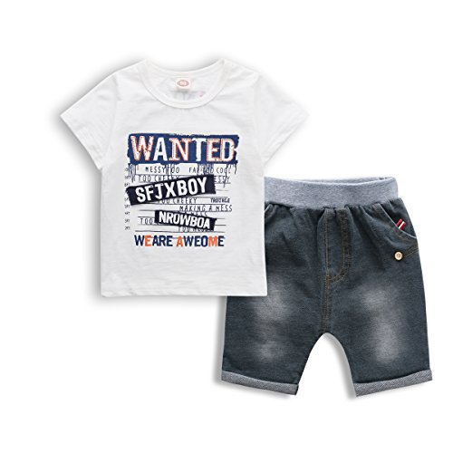 Little Boys' Cotton Clothing Short Sets, 2 PCS Short Sleeve Tee & Jeans Shorts