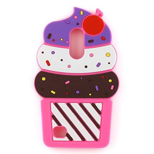 LG K20 V Case, LG K20 Plus Case, LG Harmony Case, LG V5 Case, LG K10 2017 Case, LG Grace Case,3D Cartoon Cute Cherry Cupcakes Ice Cream Shaped Rubber Silicone Case Back Cover (2017 Release) (Rose)