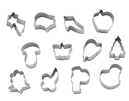 Paderno World Cuisine Assorted Specialty Geometric Shape Dough Cutters, 12-Piece Set (World Fruit Cutter Cuisine)