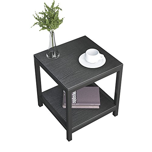 """Soges Modern End Table 15.7"""" Square Coffee Table Sofa Side Table Telephone Table, Black ZS-CJBK-40"""