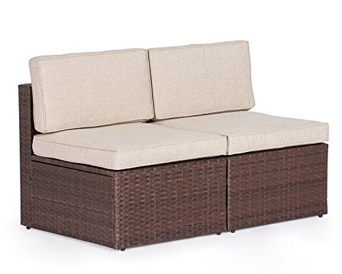 (Solaura Outdoor Sofa Furniture All Weather Brown Wicker Sectional Armless Chairs (2) | Additional Seats for Sectional Sofa Sets | Light Brown Cushion)