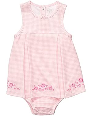 Baby Girls' Pink Checkered with Flowers Romper Sunsuit