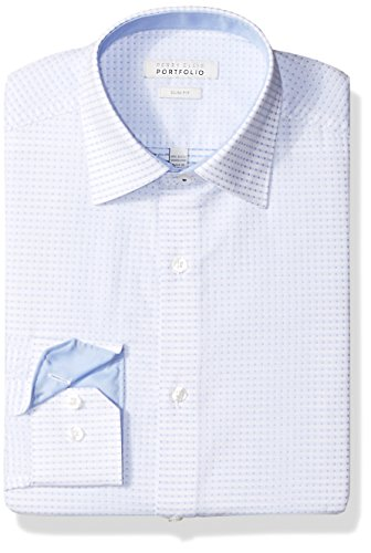 (Perry Ellis Men's Slim Fit Wrinkle Free Dress Shirt, Blue Dobby, 16.5 34/35)