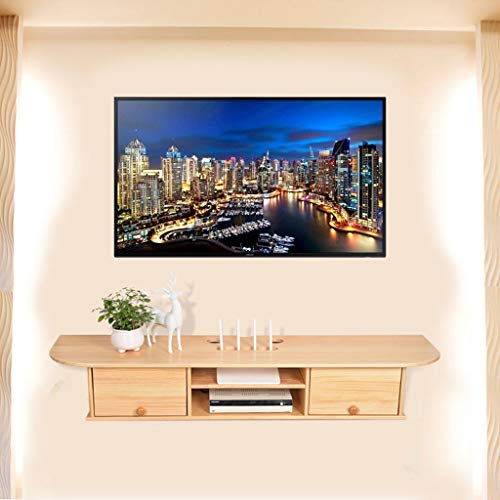 KTYXDE Wall Shelf Wall-Mounted TV Cabinet Shelf TV Set-top Box Router DVD Projector Storage Box TV Console Living Room Bedroom Wood Floating Shelves (Color : Pine) (Storage Pine Dvd)