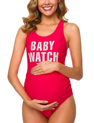 Ziola Women One Piece Letters Printed Maternity Swimsuit Backless Tankini Sun's Out Bump's Out Monokini Red