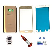 (md0410) Galaxy S7 GOLD Front Outer Glass Lens Screen Back Glass Battery Door Housing Camera Flash Lens Cover Adhesive UV LOCA Glue Full LCD Digitizer Repair Kit Replacement G930 G930A G930V G930T
