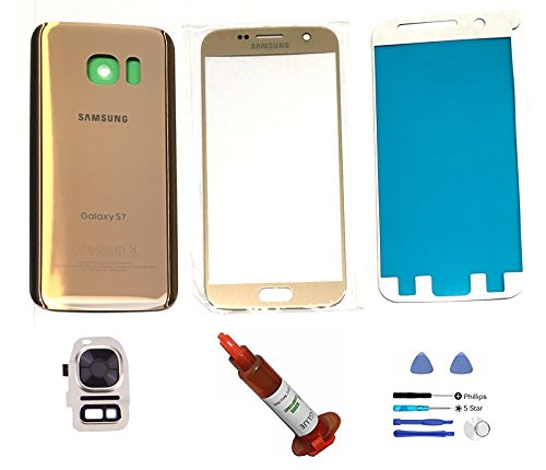 (md0410) Galaxy S7 GOLD Front Outer Glass Lens Screen Back Glass Battery Door Housing Camera Flash Lens Cover Adhesive UV LOCA Glue Full LCD Digitizer Repair Kit Replacement G930 G930A G930V G930T - Galaxy S4 Screen Replacement Gold