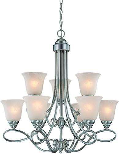Craftmade 25029-SN Cordova European Chandelier Lighting, 9-Light, 540 Watts, Satin Nickel 29 W x 30 H