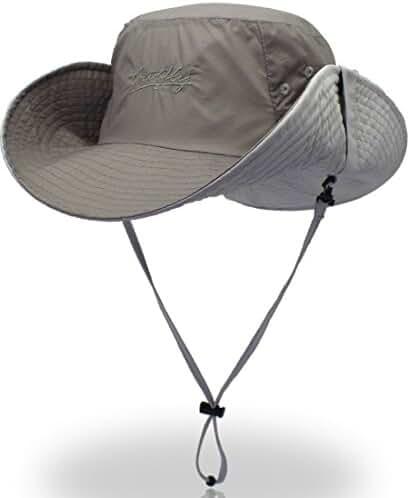 YOYEAH UPF 50+ Wide Brim Sun Protection Hat Outdoor Mesh Sun Hat Windproof Fishing Hats