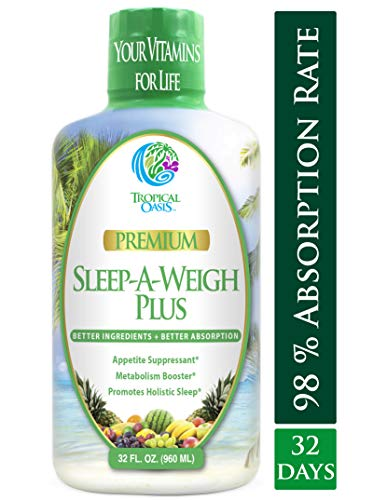 Sleep-A-Weigh Plus | Liquid Sleep Multimineral | Natural Sleep, Stress & Weight Loss Aid | w/Collagen, L-Carnitine, L-Lysine, Tonalin CLA, Apple Cider Vinegar, 5-HTP, Vitamins | Non-GMO | 32 Serv