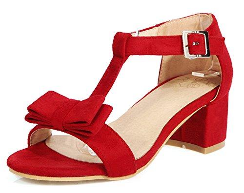 Aisun Femme Confort Salomé Noeud Papillon Cocktail Fille Sandales Avec Boucle Rouge AdELj1