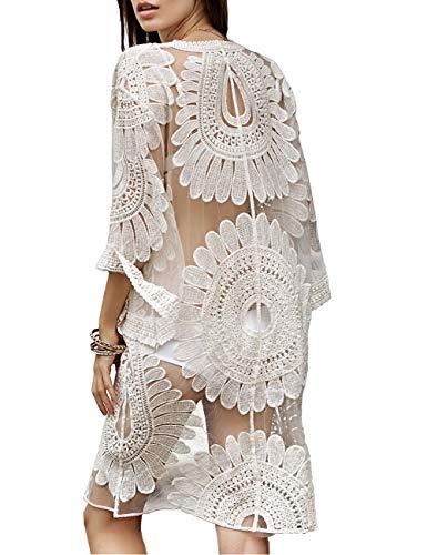 Crochet Top Floral Dress - QIUYEJUO Women's Crochet Floral Lace Swimsuit Beach Cover Up Long Vintage Kimono Cardigan Dress