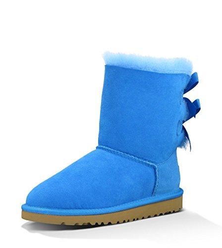 Azul Ugg Austrália Arco Bailey Criança Menina Botas Redondas Inverno Nova Ue-25