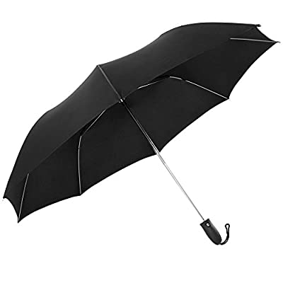 Hailix Golf Windproof Umbrella 54 inch Large Folding Automatic Open/Close Travel Umbrellas-Black