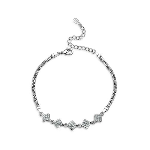 925 Sterling Silver Cubic Zirconia Square Adjustable Bracelet   Fine Jewelry for Women   Girls - by Perfect Eden ()