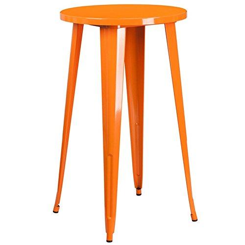 Brimmes Round 24'' Orange Bar Height Metal Table, 41
