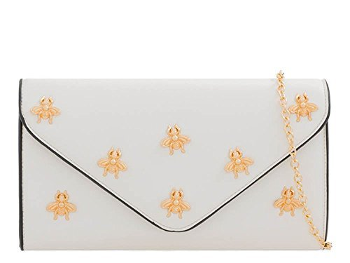 Leather Ladies White Clutch Faux Insect Decoration Purse Bag Envelope rO8qtOn1