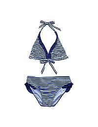 Fartido Kid Girl Blue Strapes Print Swimwear Occident Bikini Set Outfits