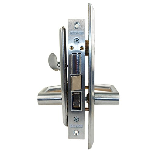 Marks Metro 116A Satin Chrome US26D Entry Right Handed Thru-Bolted Mortise Lockset With Angled Lever Escutcheon Plates by Marks USA