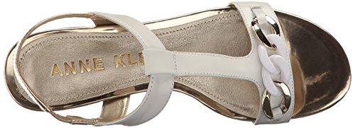 Anne Klein Kvinna Enhet Läder Klack Sandal Vit / Guld