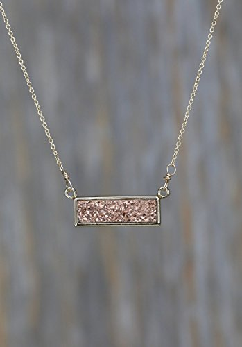 Real Druzy Quartz Gemstone Bar Necklace Gold- 17