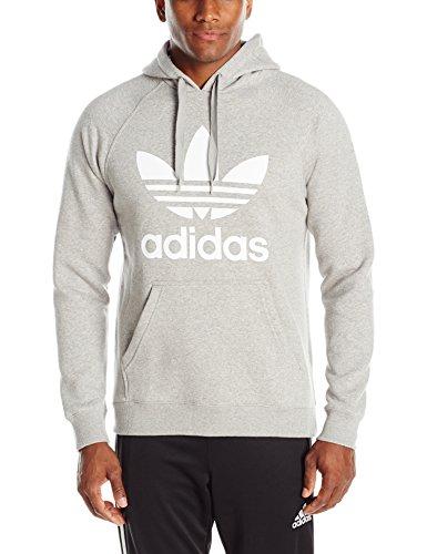 adidas Originals Men's Originals Trefoil Hoodie, Medium Grey Heather/White, X-Large