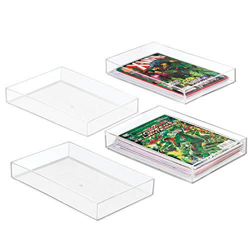 mDesign Stackable Organizer Trays for Comic Book Storage - Pack of 4, 8