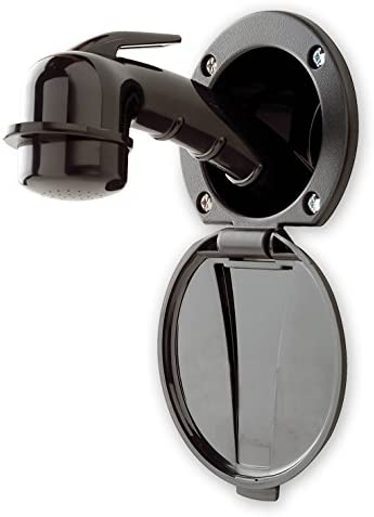 Ambassador Marine Plastic Lid//Cup Recessed Shower Kit with Small Black Sprayer and 6-Feet Stainless Steel Hose Black