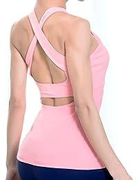 Women's Petite Workout Yoga Active Cut-Out Open Back Tank Top Built in Sport Bra