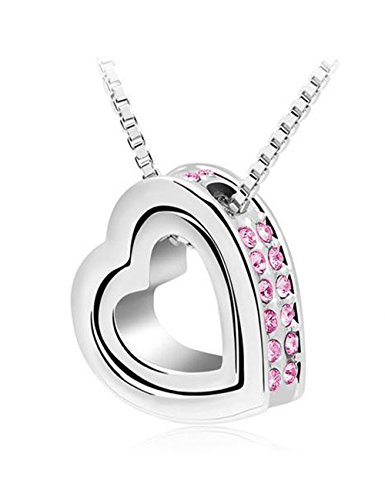 [Christmas Gift Double Love Heart Shape Pendant Necklace,Crystal Love Style Stainless Steel Necklace] (Princess Daisy Costumes Pattern)