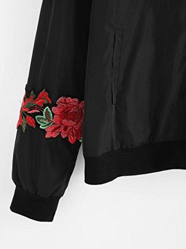 Internert abrigo Negro bombardero para de Chaqueta Imprimir cremallera larga retro de con floral manga zBrqwzO