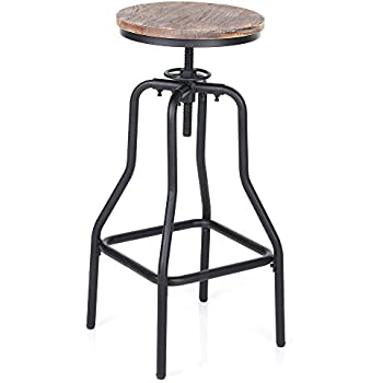 IKAYAA Adjustable Height Swivel Bar Stool Chair Kitchen Dining Breakfast Chair Natural Pinewood Industrial Style  sc 1 st  Amazon.com & Amazon.com: VIVA HOME Industrial Swivel Metal Frame Barstool With ... islam-shia.org