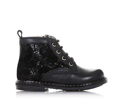 TWIN-SET - Schwarzer Stiefel mit Schnürsenkeln aus Leder und Samt, einzigartiges Design, Mädchen-21